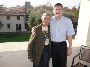 Monica Dirac with Graham at Caltech's Athenaeum, Dec 2014
