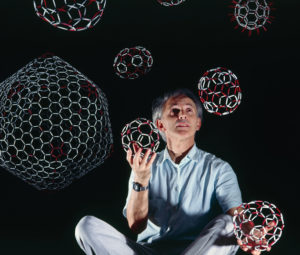 Harry Kroto with buckyballs